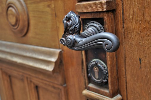 Door Handle, Fancy, Forged, Entrance, Retro, Open