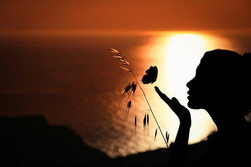 Woman, Butterfly, Romantic, Panoramic, Nature, Sea