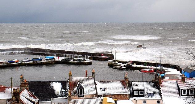 Harbour, Scotland, Fife, East Neuk, St Monans, Storm