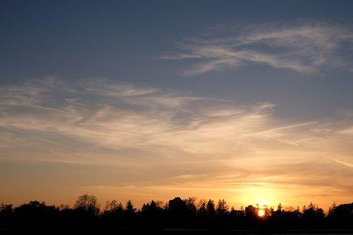 Sunset, Sunrise, Winter, Cold, Sky, Clouds, Sun, Light