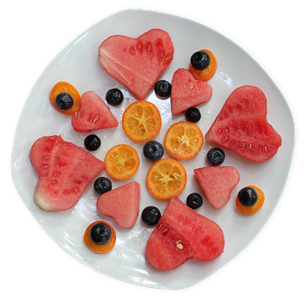 Fruit, Plate, Heart, Fresh, Healthy, Sweet, Delicious