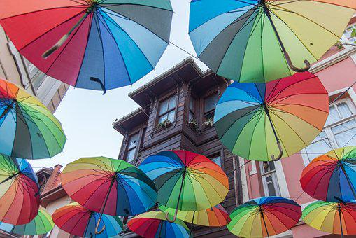 Umbrellas, Street, Color, Decoration, City, Istanbul