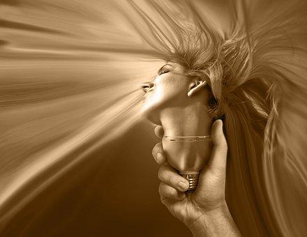 Woman, Head, Bulb, Hand, Scream, Headache