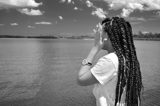 Shy, Woman, Look, Looking, Covering Face, Braids, Black