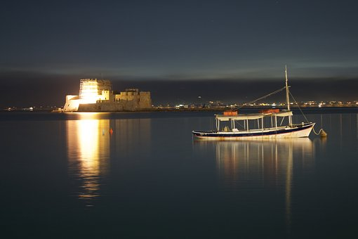 Sea, Greece, Boat, Castle, Landscape, Greek, Blue