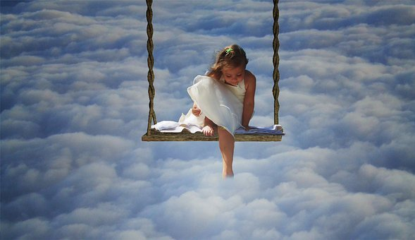 Clouds, Curiosity, Swing, Child, Unknown, View
