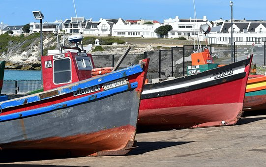 Fishing Boats, Dry Dock, South Africa, Arniston, Sea