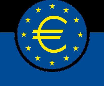 Blue, Yellow, White, Stars, Euro, Logo, European, Bank
