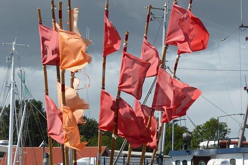 Flags, Sea, Flag, Blow, Wind, Fisherman