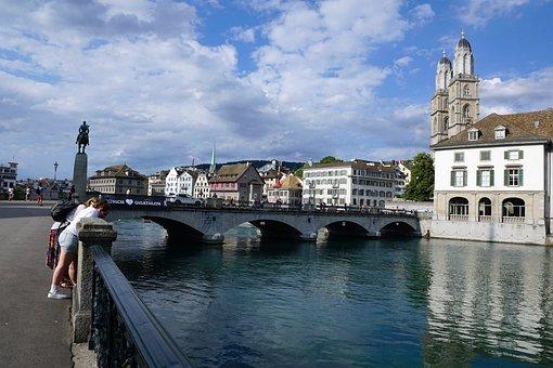 Zurich, Switzerland, Limmat, River, Water