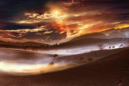 Landscape, Cloud, Nature, Sky, Lights, Mood