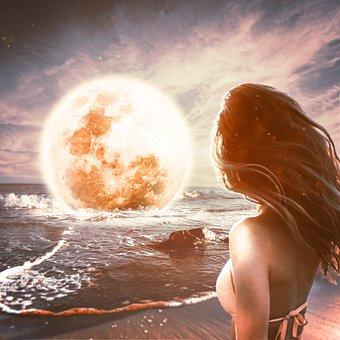 Moon, Woman, Beach, Nature, Moonlight, Night, Mystical