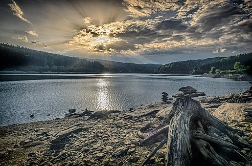 Reservoir, Landscape, Lake, Nature, Water, Clouds, Sky