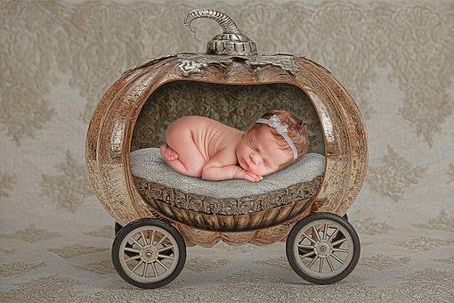 Newborn, Pumpkin, Carriage, Infant, Kid, Baby, Girl