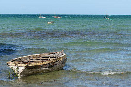 Old Boat, Sea, Ocean