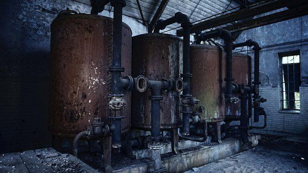 Dark, Boiler, Piping, Iron, Stainless, Factory