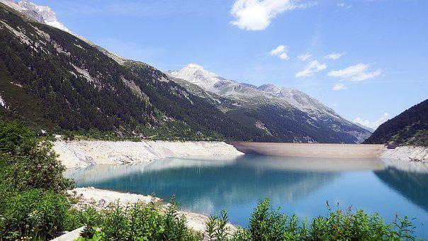 Schlegeis, Reservoir, Austria, Mountains, Lake, Water