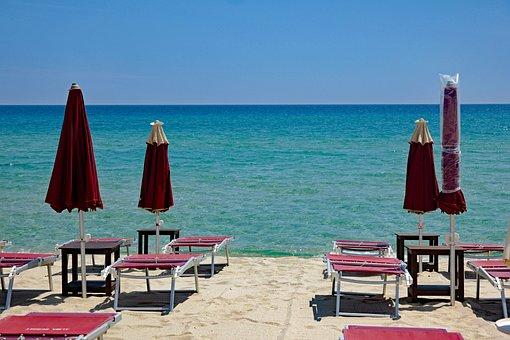 Beach, Sea, Parasol, Sun Lounger, Sun Loungers, Sky