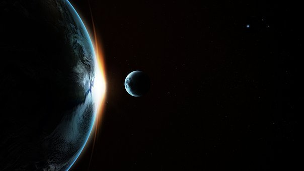 Earth, Moon, Transit, Sunrise, Sun, Space, Universe