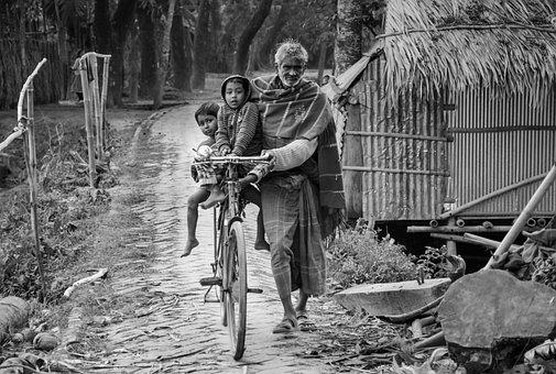 Street, Old Man, Child, Bike, Childhood, Grandfather