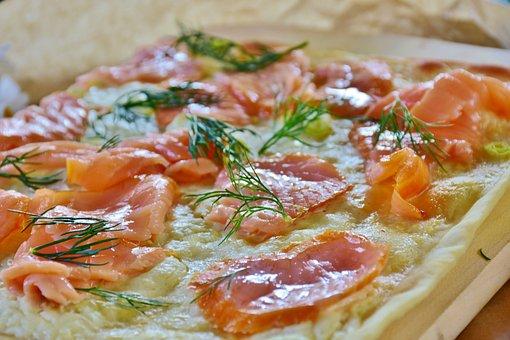 Tarte Flambée, Salmon, Smoked Salmon, Spring Onion