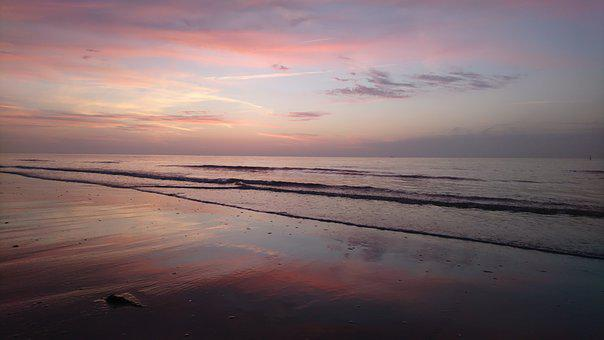 Sea, Evening, Sunset, Beach, Water, Abendstimmung, Mood
