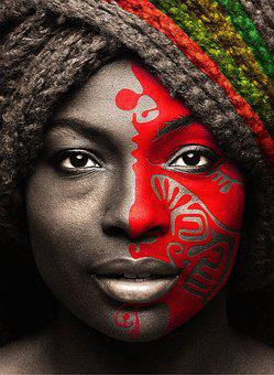Portrait, Person, Woman, Black, African, Painting