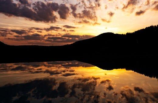 Sunset, Mirroring, Abendstimmung, Afterglow, Lake