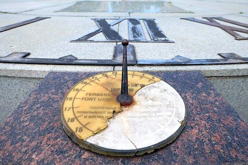 Clock, Time, Solar Watches, Dial, Krupnyj Plan, Arrows