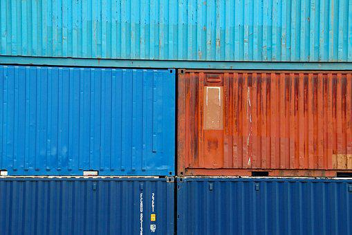 Containers, Colors, Orange, Blue, Background, Transport