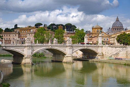 Bridge, River, Tiber, Rome, Basilica, Church