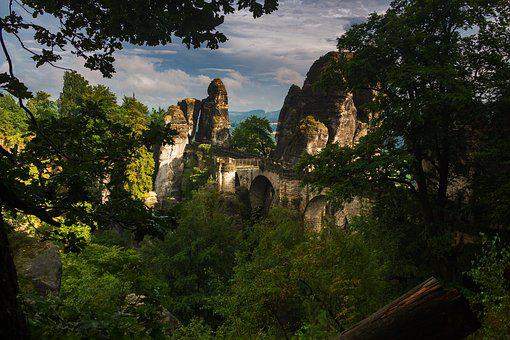 Bastei, Bridge, Rathen, View, Saxon Switzerland