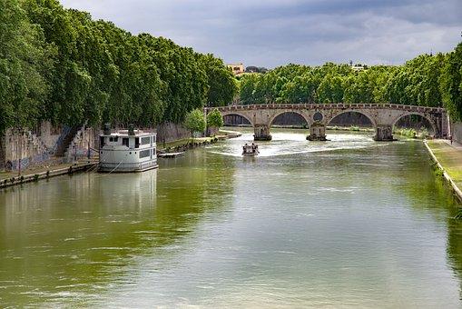 Bridge, River, Tiber, Rome, Boat, Houseboat, Barge