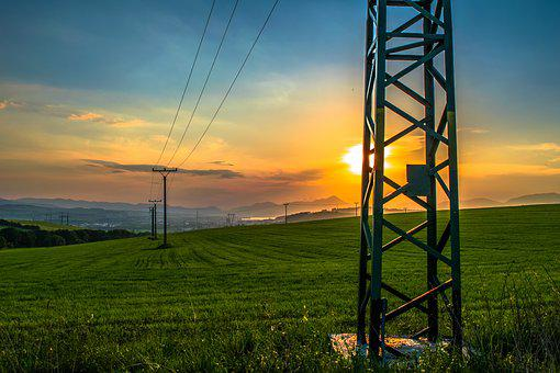 Column, Meadow, City, Field Grass, View, Sun, Sunset