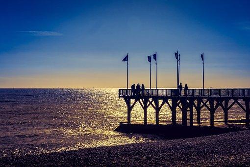 Pier, Sunset, Colourful, Sea, Water, Landscape, Ocean