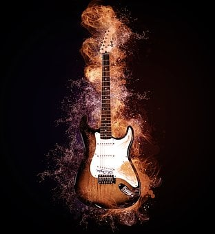 Water, Fire, Guitar, Flames, Music, Instrument, Rock