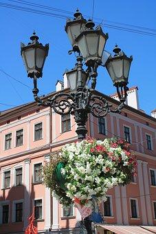 Lantern, Flowers, City Centre, Ukraine, Lviv, Old Town