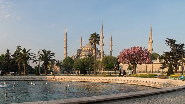 Istanbul, Blue Mosque, Minaret, Fountain, Turkey