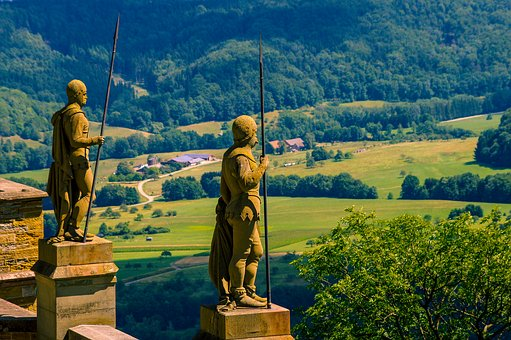 Castle, Germany, Statue, Landscape
