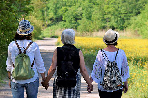 Women, Girlfriends, Nature, Walk, Friendship, Together
