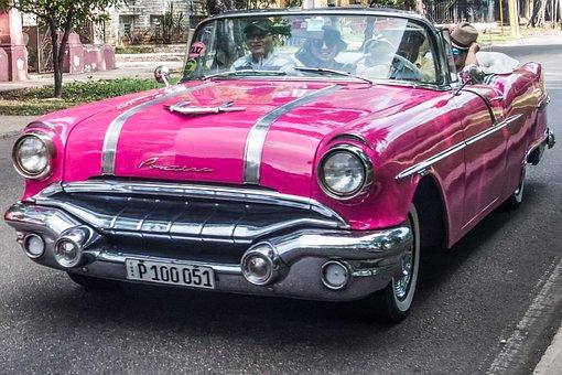 Cuba, Havana, Paseo Ave, Almendron, Taxi, Pontiac