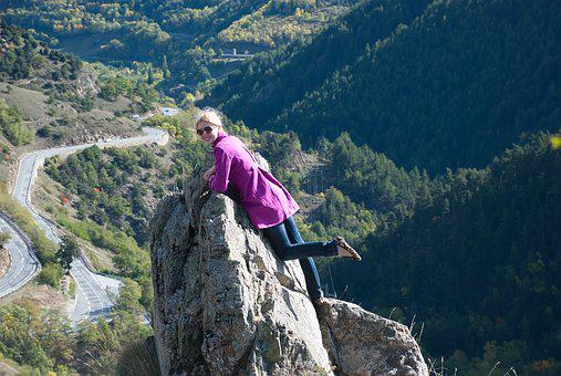 Rock, Girl, Mountains, Journey, The Pyrenees, Road