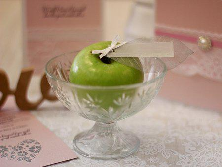 Apple, Wedding Favour, Label, Green And Pink, Card