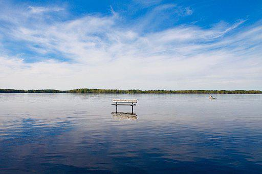 Lake, Bench, Landscape, Spring, Benches, Finnish, Blue