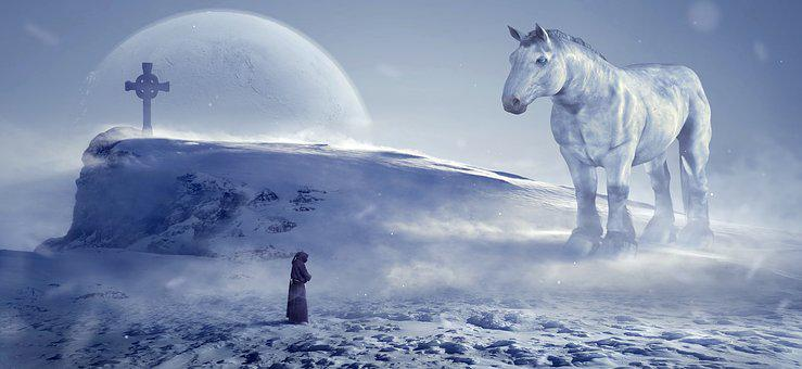 Fantasy, Winter, Horse, Monk, Cold, Mystical, Composing