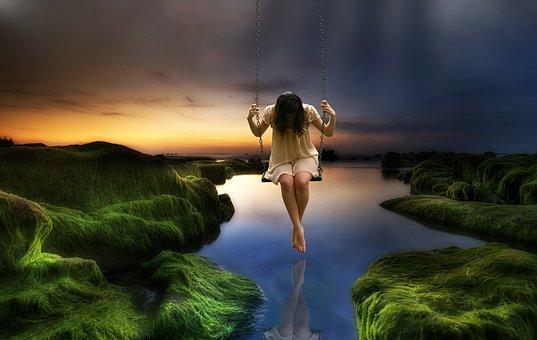 Girl, Women, Sad Girl, Nature, Photomontage, Surrealism