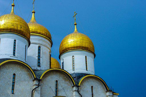Moscow, Cateral, Russia, Religion, Dome, Orthodox, Gold