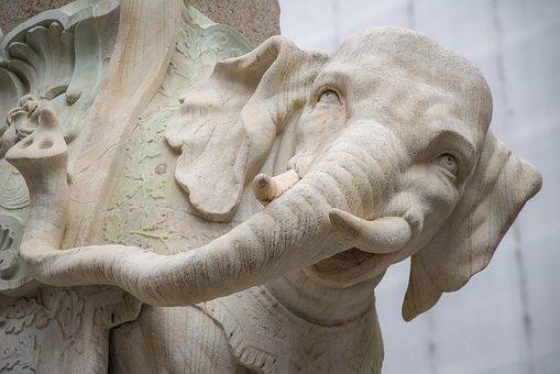 Elephant, Pachyderm, Statue, Stone, Rome