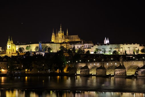 Prague, Night, Illuminated, Moldova, Bridge, Old Town