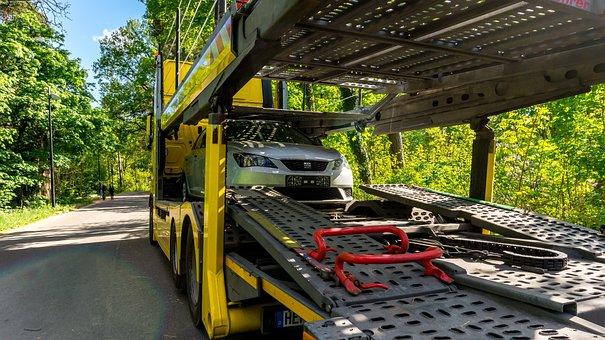 Truck, Truck Mounted Crane, Semi Trailers, Yellow